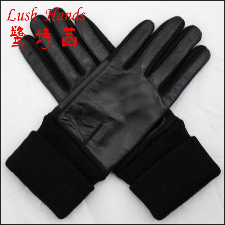 Fashion long lady touch screen Leather and woolen joining together gloves with knit cuff