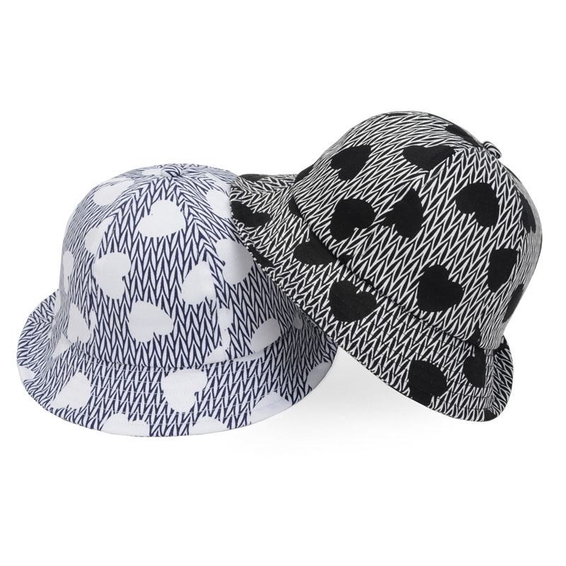 32a6c08c483 Get Quotations · Hot Selling Fashion Heart Print Bucket Cap Women Camping  Hiking Fishing Outdoor Bob Black Bucket Hat