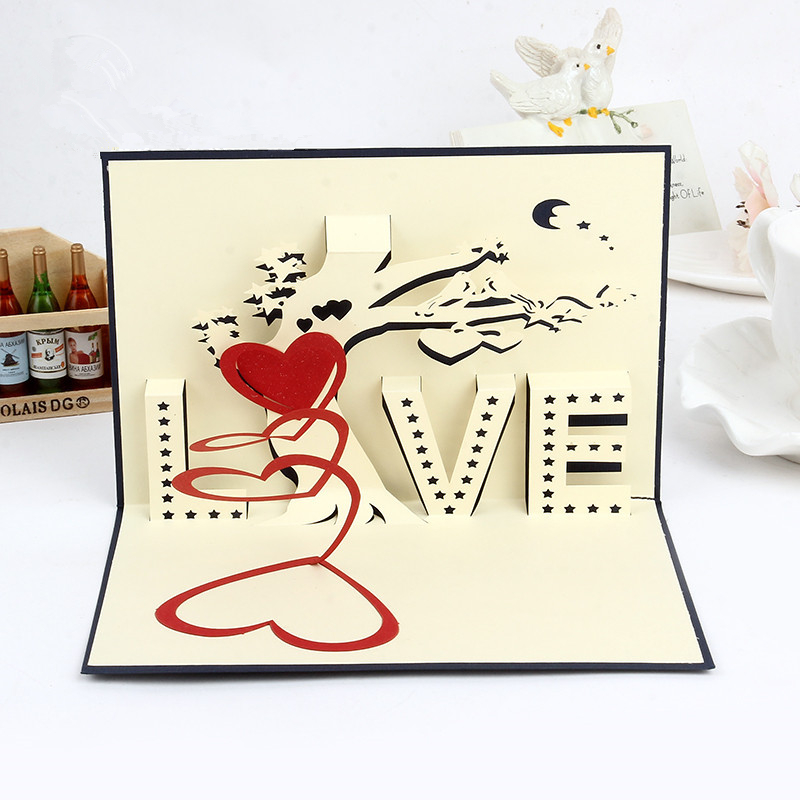 Valentine's Day Love Hearts Pop up Greeting Cards