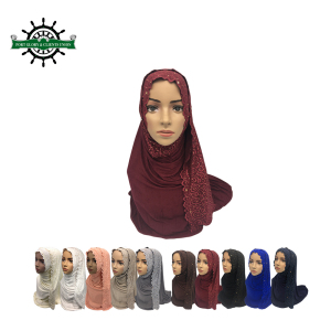 Hot selling high quality popular lace hijab in assorted colors