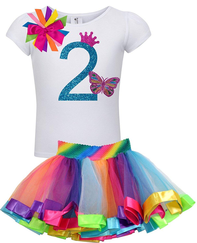 2557c5dca Get Quotations · Bubblegum Divas Little Girls 2nd Birthday Butterfly Shirt  Rainbow Tutu Outfit