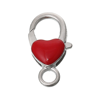 Heart Silver Tone Enamel Red China Wholesale Small Metal Lobster Clasp Jewelry Findings