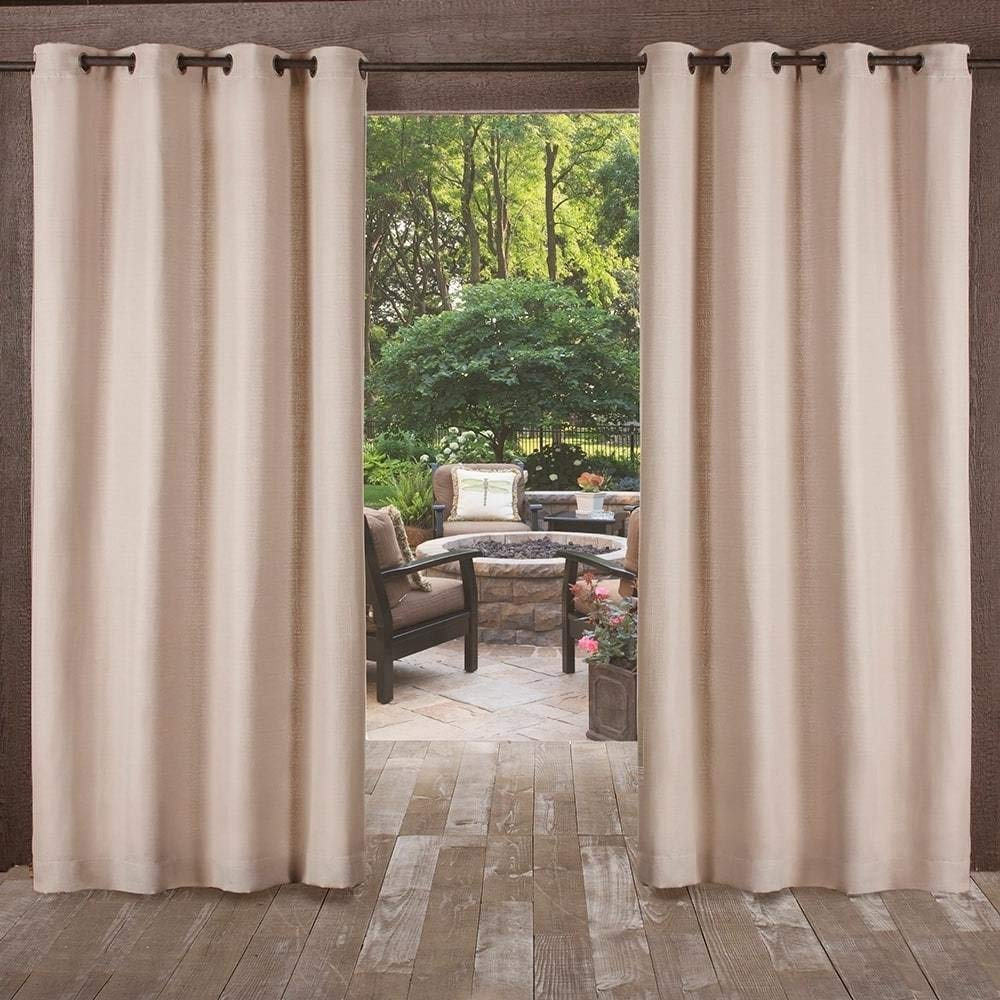 UK4 2 Piece 108 Inch Light Brown Indoor Outdoor Heavy Textured Gazebo Curtain, Taupe Window Treatment Panel Pair, Patio Porch Cabana Dock Beach Home Grommet Top Pergola Drapes, Contemporary Polyester