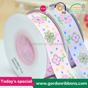2017 carnation ribbon printing for mothers day /warmly flower printed ribbon