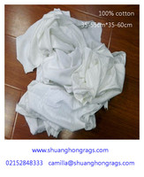 white used T shirt cotton wiping rags for cleaning oil
