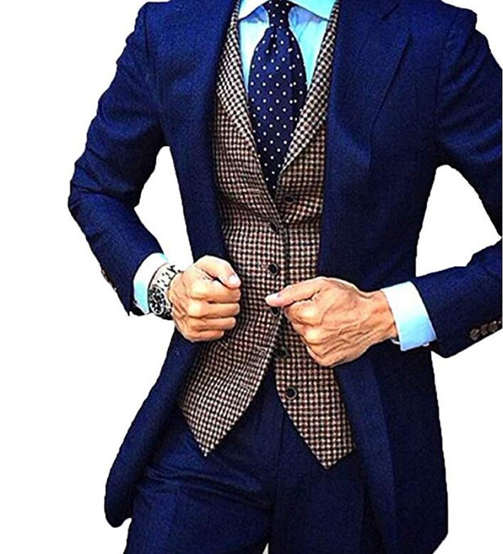 Jacket+Pant+Vest AK Beauty Shawl Lapel Mens 3 Pieces Business Suit Wedding Suit