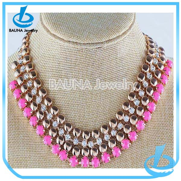 European popular rose gold plated clear rhinestone pink multi layer bib statement necklace 2018