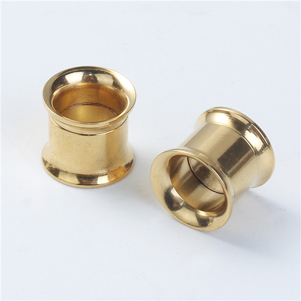 8mm Stainless Steel Ear Stretcher Expander Bobbin Gold Plated Body Piercing Jewelry