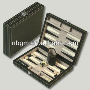 Backgammon Set In Rectangle Leather Case/Travel Game Set