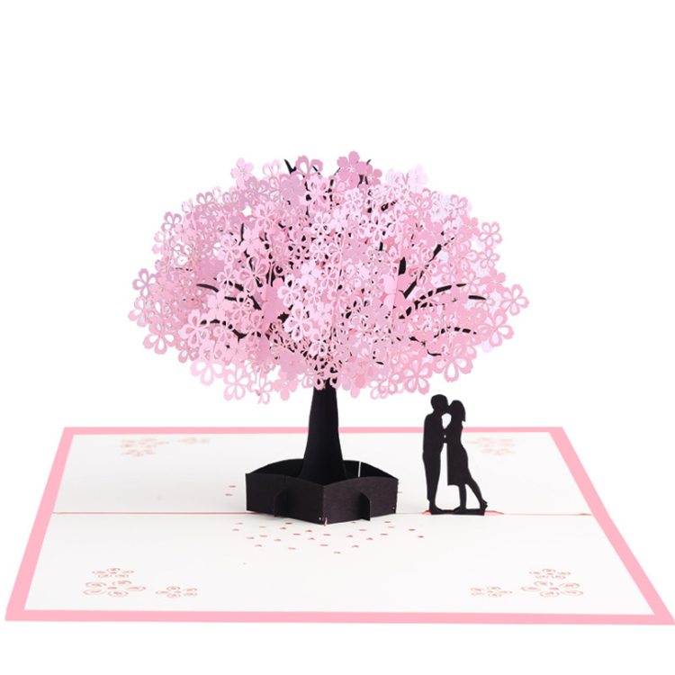 Romantic Cherry blossoms pink greeting holiday pop up 3D <strong>card</strong>