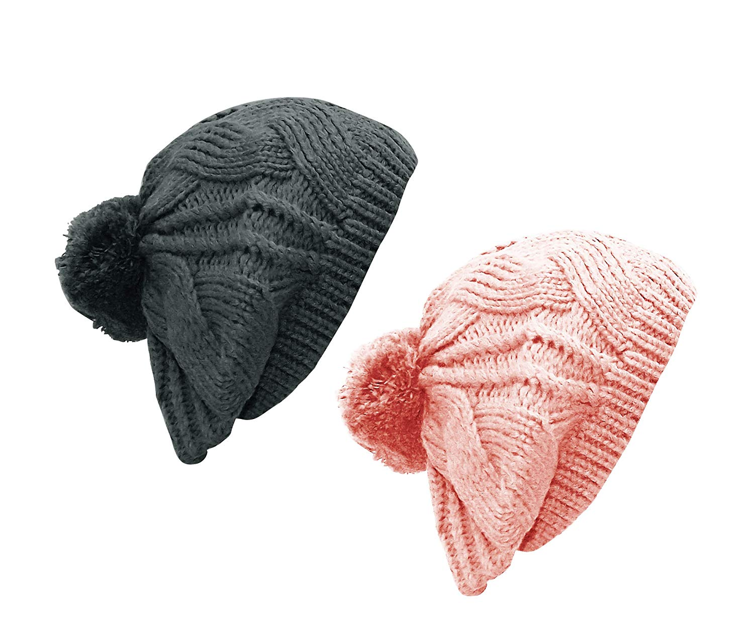 Get Quotations · Peach Couture Thick Cable Knit Pom Pom French Beret Warm  Fall Winter Hat Beanie eb2f285097c