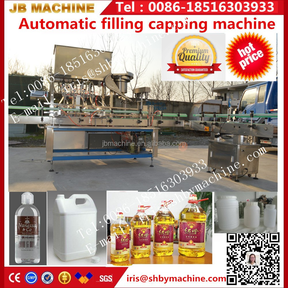 JB-DG10 4 heads automatic car engine oil filling capping machine for lubricants and petrol bottle