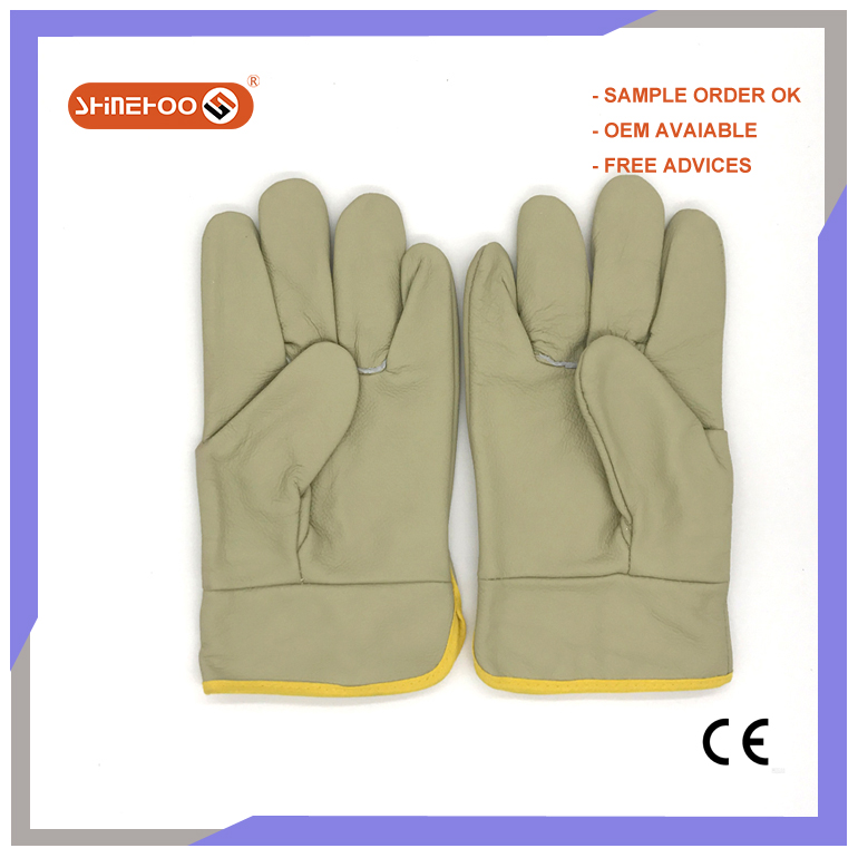 SHINEHOO Driver Style Leather Working Driving Gloves CE Mark