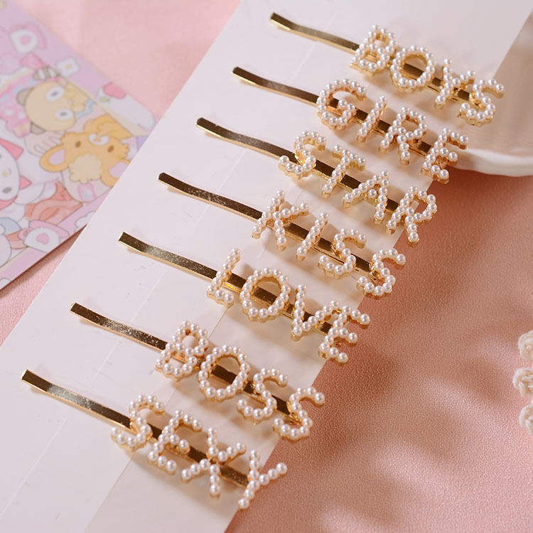 YYSP001 Trade assurance the zircon English letter word clip Mori female pearl retro hairpin metal simple side clip wholesale