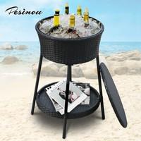 good quality rattan cooler table and basket wine bottle holder