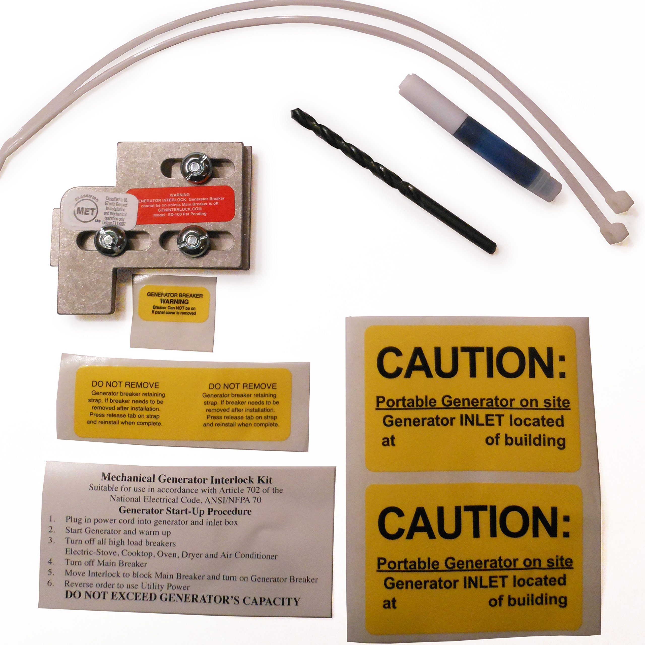 SD-100A Square D Generator Interlock Kit QO /& Homeline Indoor or outdoor 100 or 125 amp panels