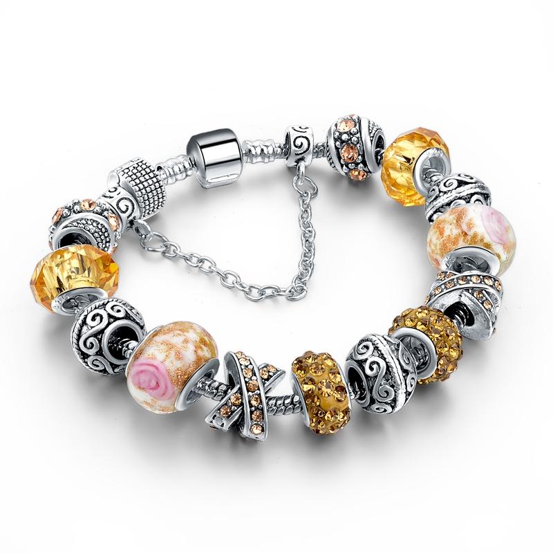 Fait main BRICOLAGE Européen et Américain Bracelets Série De Noël Arbre De Noël Santa Ours Alliage Grosse Perle Bracelet