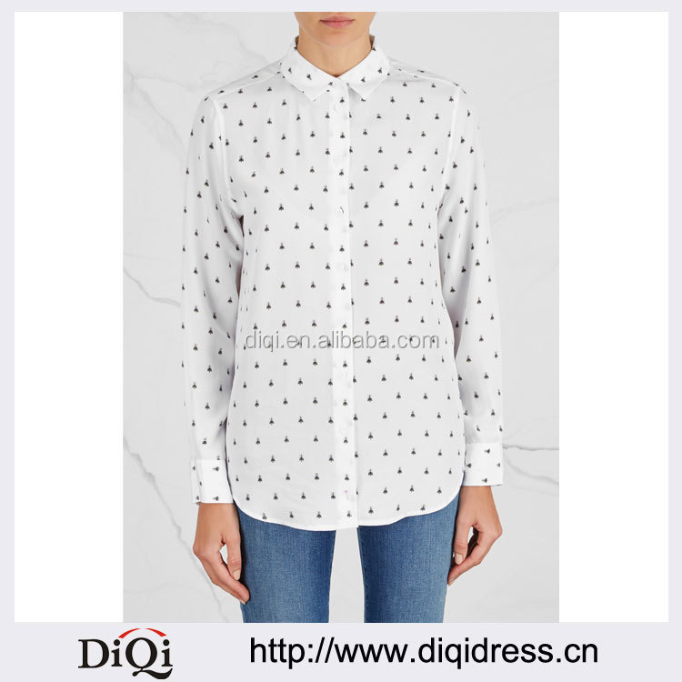Wholesale Women Apparel Bee-printed White Semi-sheer Washed Silk Shirt(DQE0312T)