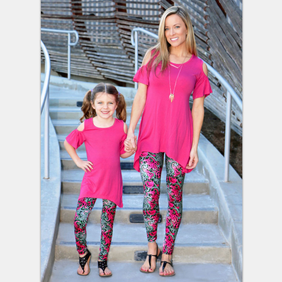 e883356d5 2017 wholesale family new look fall clothing european printed elastic mommy  and me matching leggings