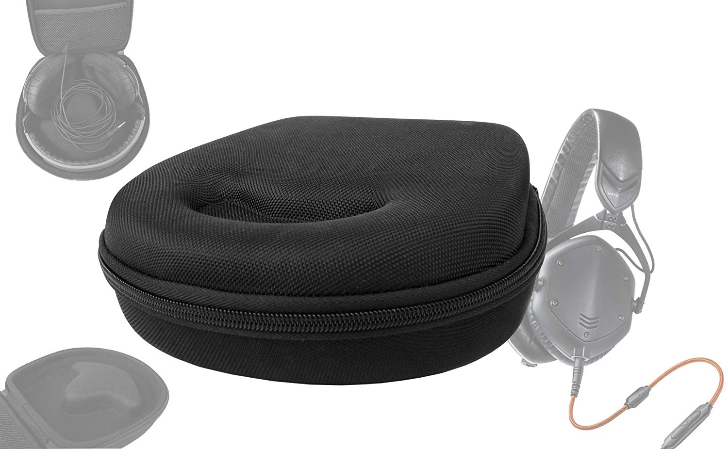DURAGADGET Tough EVA Storage Case For Headphones/Earbuds, With Compartment (Black) For V-MODA Crossfade LP Over-Ear Noise-Isolating Metal Headphones