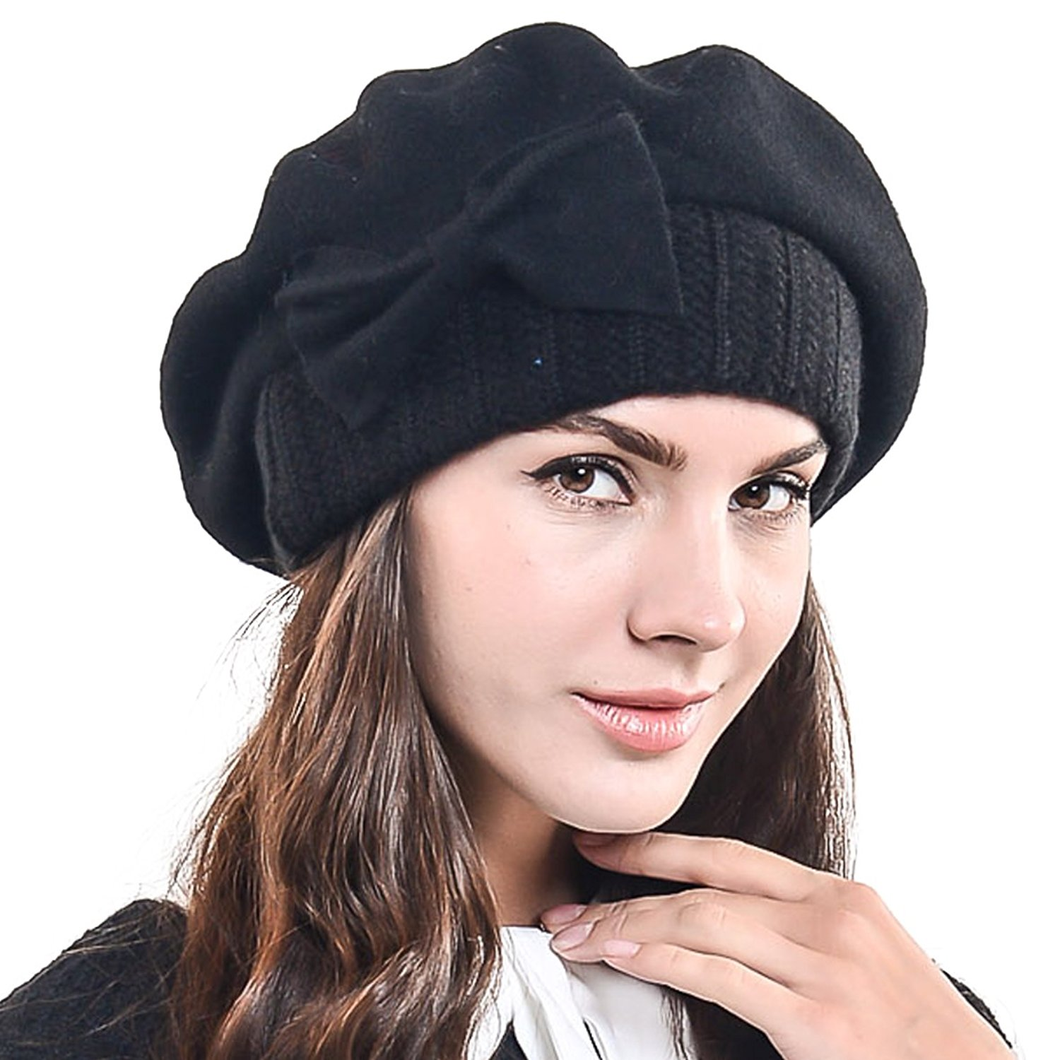 05c892d86f7bb Get Quotations · HISSHE Lady French Beret Wool Beret Chic Beanie Winter Hat  with Bow