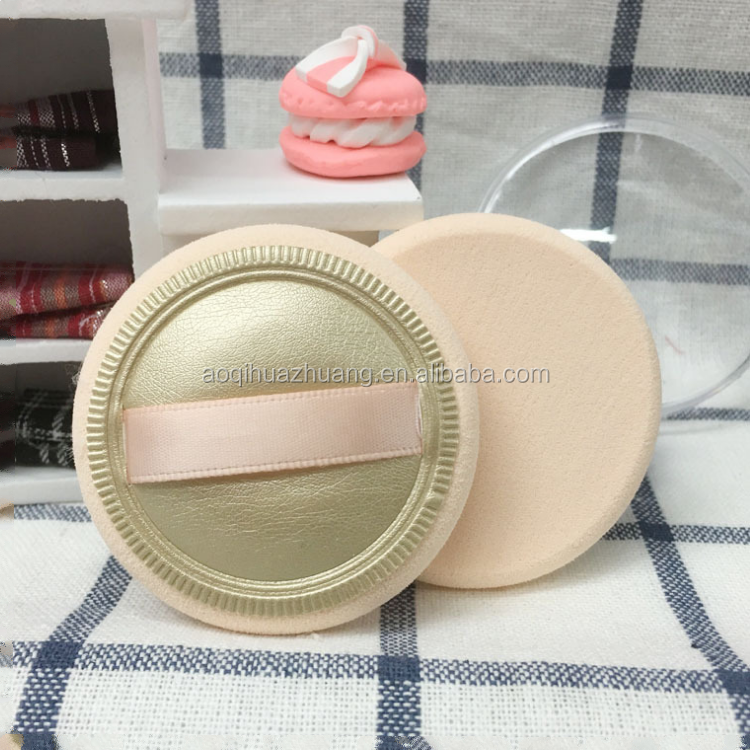 PU leather SBR round edge powder puff in cosmetic jar with ribbon for BB cream
