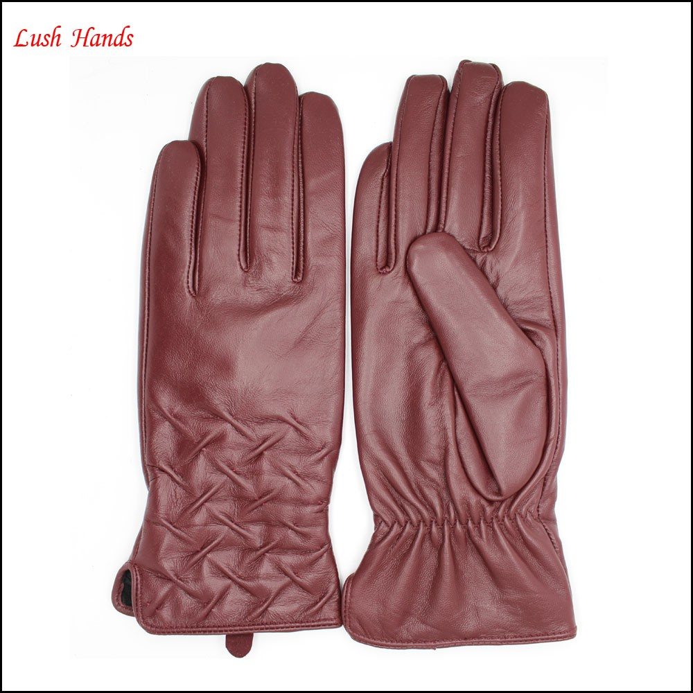 Women fashionable style leather gloves with cuff Embroidery details