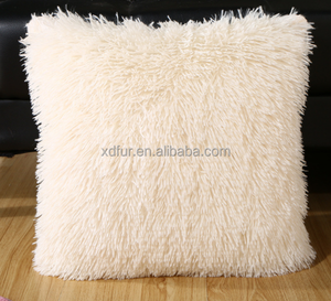 Short fur faux sheepskin throw pillow