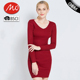 Tight alpaca sexy red alpaca sweater knitted dress for ladies