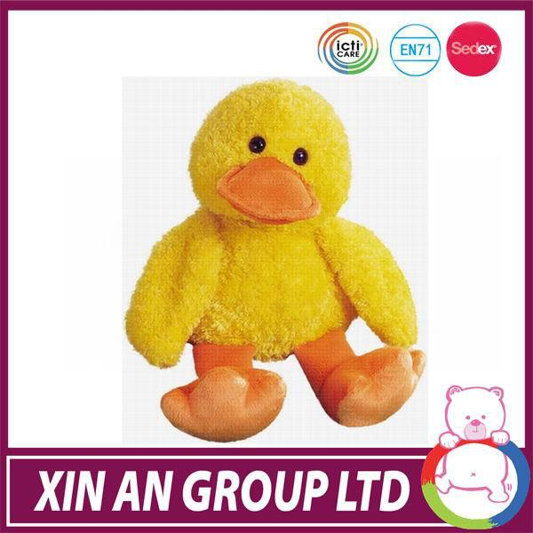 customed cuddly plush yellow duck in stuffed