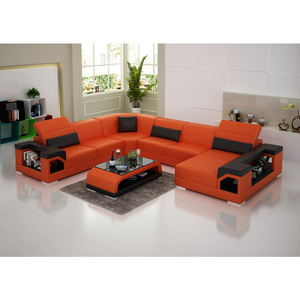 Red modern leather sofa set designs living room furniture