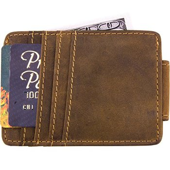 366ca7a4003b Mens Money Clip Wallet Genuine Leather Magnet Front Pocket Wallet Credit Card  Holder