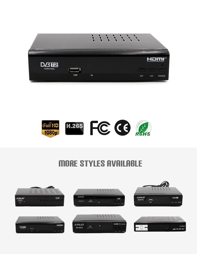 JUNUO shenzhen manufacture Best quality low price 1080p HD mstar 7t01 dvb-t2 tv decoder set top box Georgia