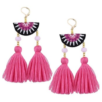 Newest 3boho jewelry hand embroidered Bohemian Pink Tassel earrings vogue jewelry earrings