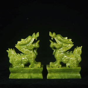 Pair Of Green Jade Pixiu Statue For Fengshui
