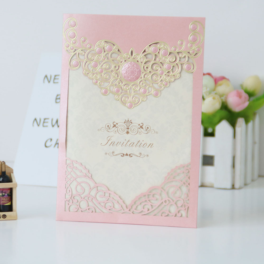 Best colorful laser cut gilding pearl paper <strong>craft</strong> cards wedding design wedding card