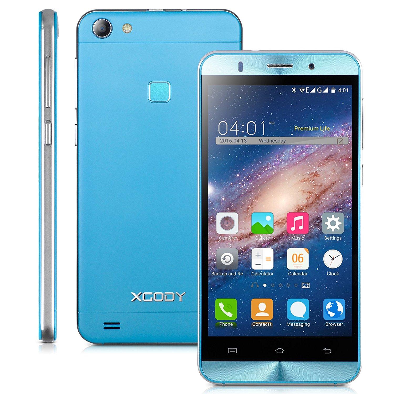 Xgody X15s 3G Unlocked Cell phone 5.0 Inch qHD Screen 8GB+1GB Quad Core Android 5.1 Dual SIM Dual Camera 5MP with Wi-Fi GPS Bluetooth Telefonos Desbloqueados Blue
