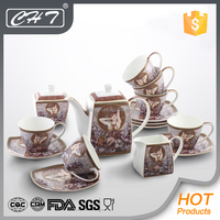 wholesale royal fine bone china arabic tea set porcelain with decal for wedding gift