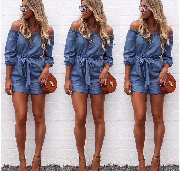 Women Jumpsuit Comfortable Boat Neckline Mid-Sleeve Solid Color Tunic Jumpsuit