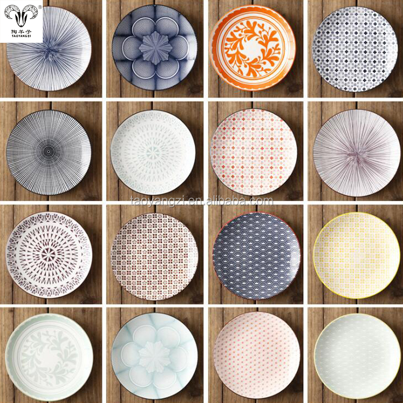 8 inches Japanese style beautiful printings round shape ceramic dishes <strong>plates</strong>