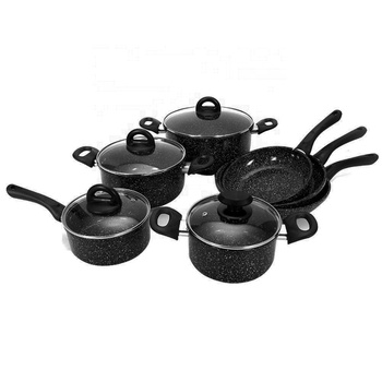 11PCS Forged Aluminum  black and white   Marble Non Stick Coating Cookware Set