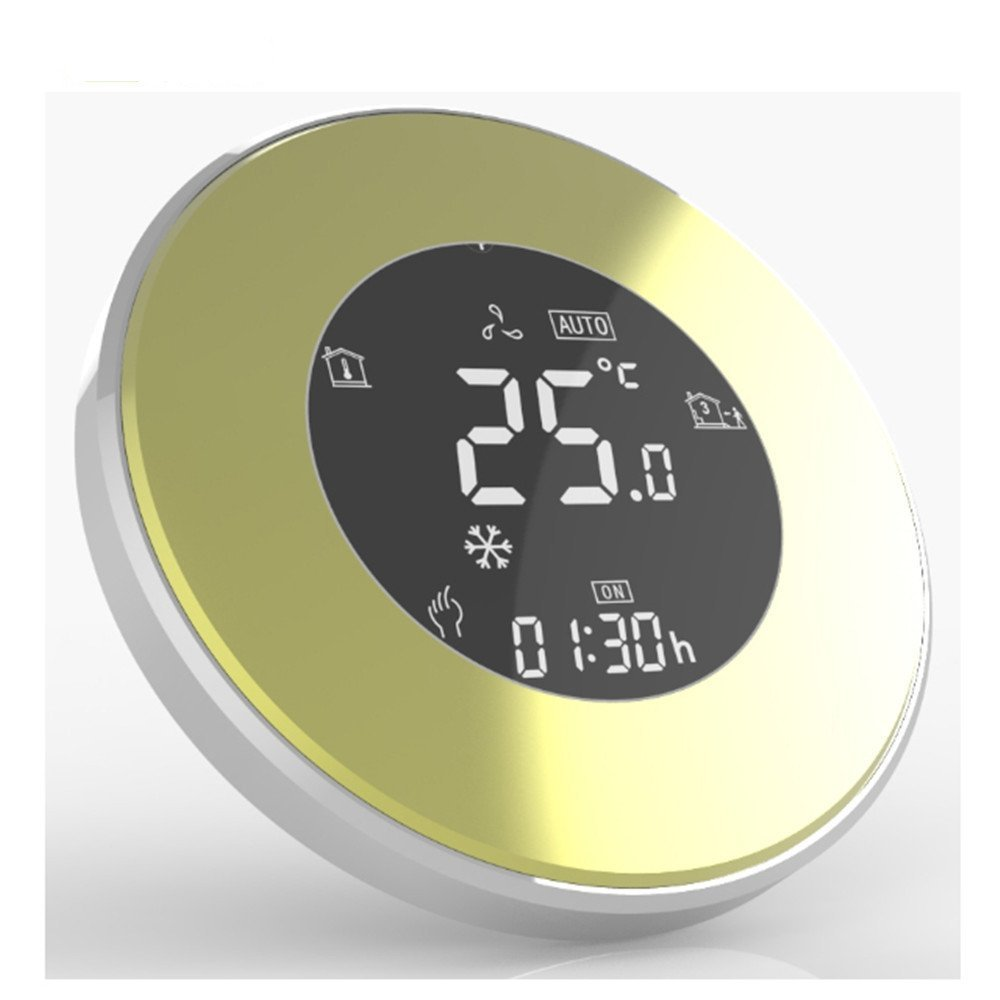 BECA New 95~240VAC Round Data Memory LCD 5 + 2 six periods Weekly Programmable 3A Underfloor Water Heating Room Thermostat (BHT-5000GALTP, Champagne Gold)