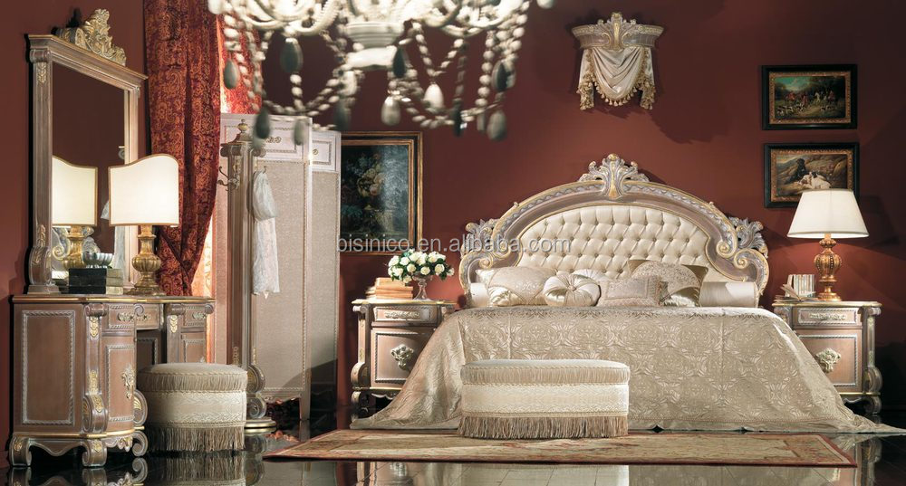Marvelous Luxury Hand Carved BedBaroque Style Upholstered Soft
