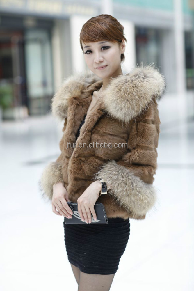 Charming Lady 2017 Shearing Rabbit Short Outer Wear With Raccoon Fur Hat Brim And Cuff