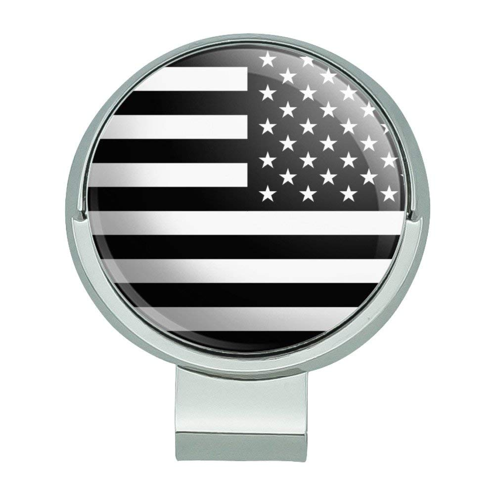 e08222b40da Get Quotations · Graphics and More Subdued Reverse American USA Flag Black  White Military Tactical Golf Hat Clip With