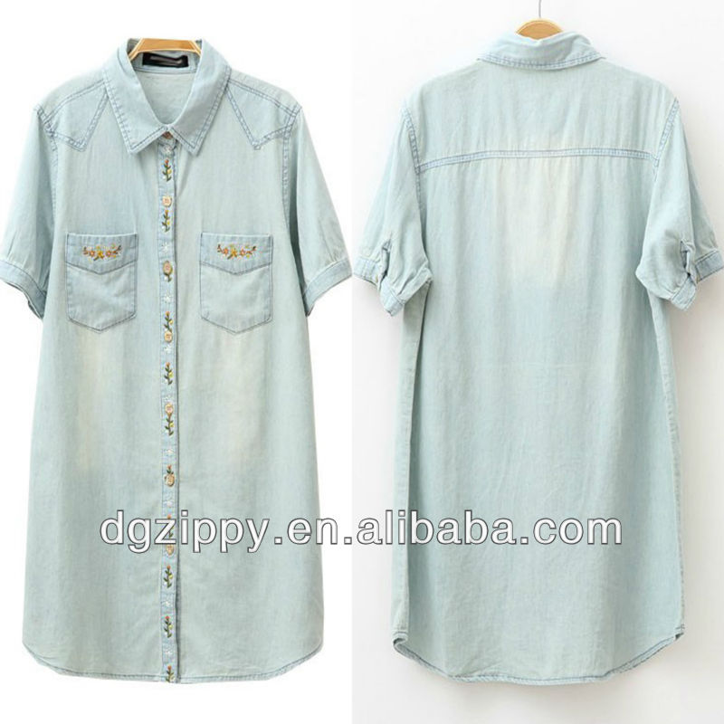 Fashion women short sleeve denim stylish blouse clothing factories in china