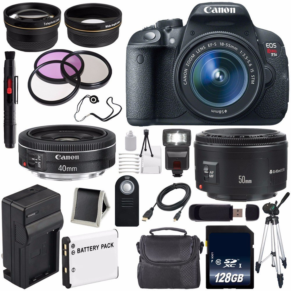 Canon EOS Rebel T5i 18 MP CMOS Digital SLR Camera w/EF-S 18-55mm f/3.5-5.6 Lens (International Model no Warranty) + Canon EF 50mm f/1.8 II SLR Lens + Canon EF 40mm f/2.8 STM Lens Bundle 56