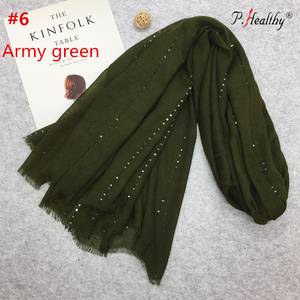 Phealthy New fashion women solid shawl wrap female scarves viscose cotton muslim hijab with sequins