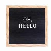 Changeable Letter Board 10x10 inches with Alphabet and Oak Frame