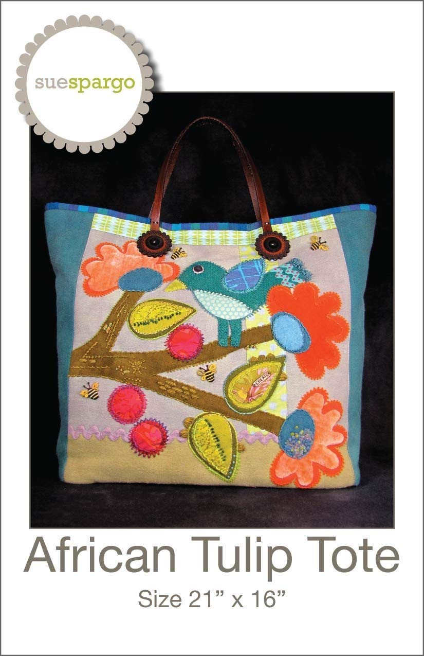 bcf70b9137f4 Get Quotations · African Tulip Tote Pattern by Sue Spargo